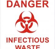 Adesivo perigo. Lixo infectante.