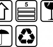 Frágil, este lado para cima, não molhar, reciclável