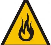 """Adesivo """"Cuidado - risco de fogo"""""""